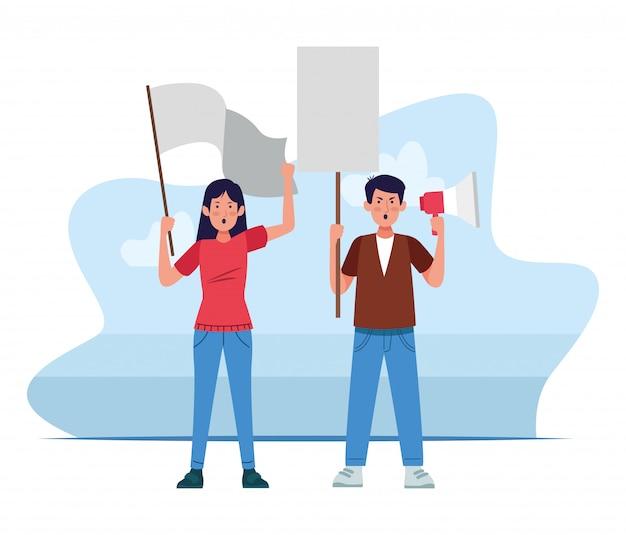 怒っている男と女が白で空白記号とメガホンを保持抗議 Premiumベクター