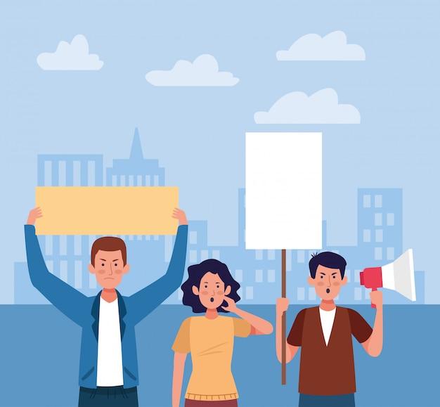 男性と女性の抗議 Premiumベクター