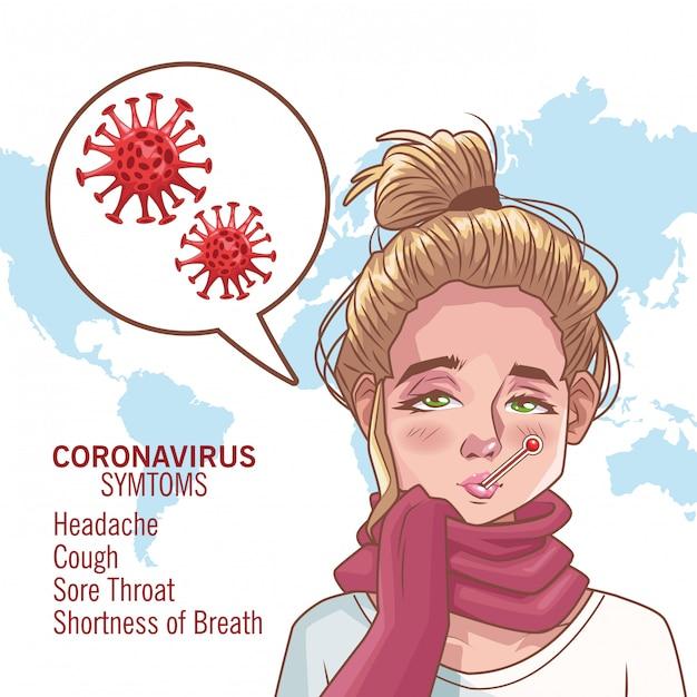 病気の女性キャラクターベクトルイラストデザインとコロナウイルスのインフォグラフィック Premiumベクター