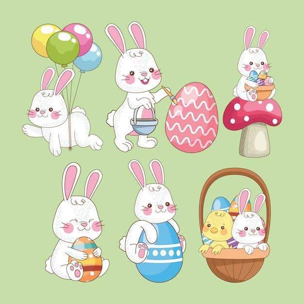 Пасхальная открытка с кроликами Premium векторы
