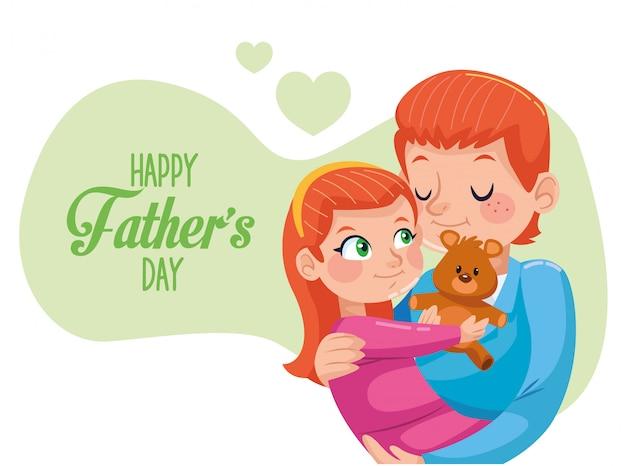 お父さんキャリング娘と幸せな父の日カード Premiumベクター
