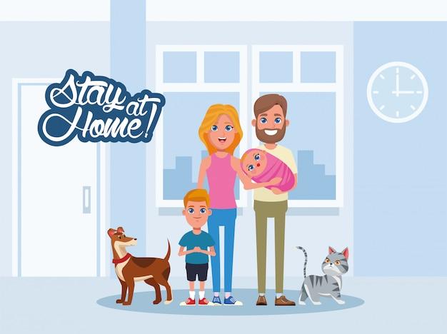 家族やペットと一緒に家にいるキャンペーン Premiumベクター