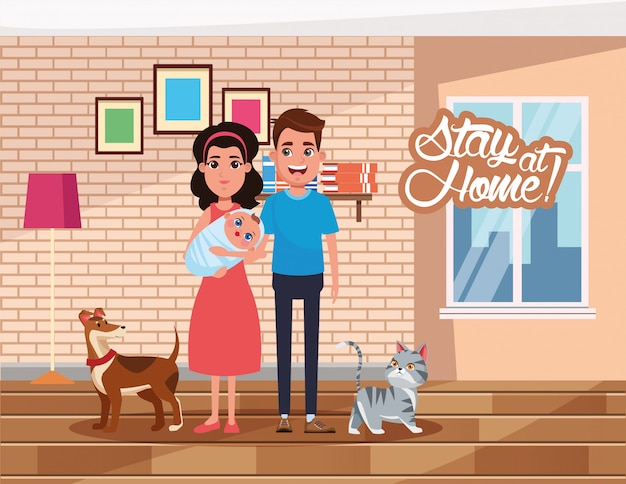 両親が赤ちゃんやペットを持ち上げて家にいるキャンペーン Premiumベクター