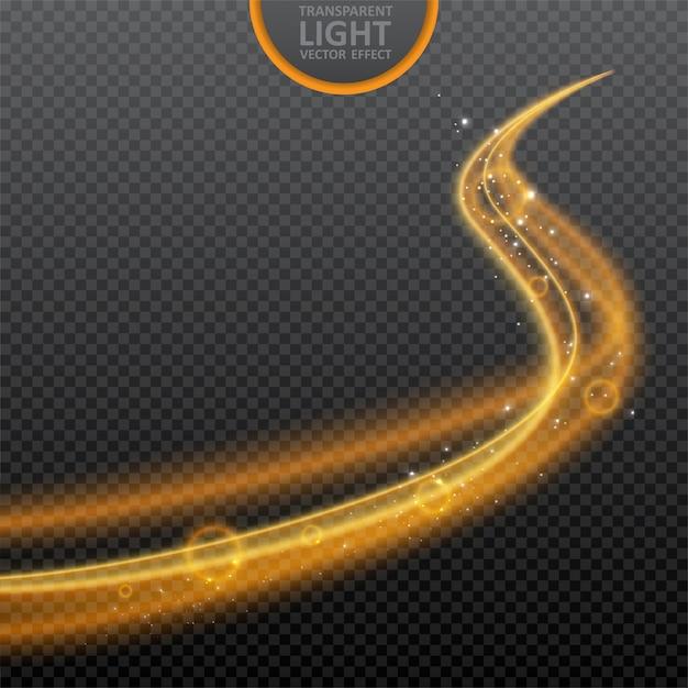 白熱渦巻き光効果と透明の黄金色の光の効果 Premiumベクター