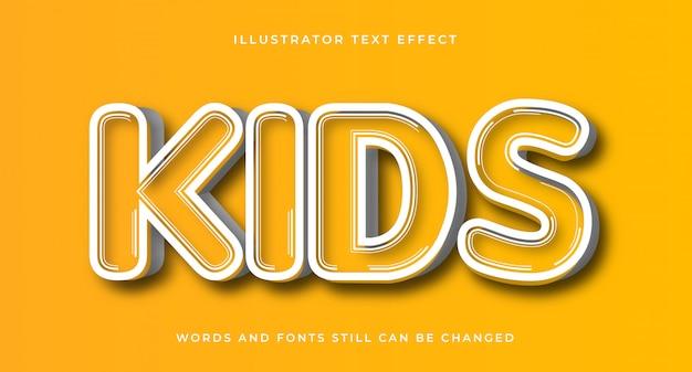 Детский редактируемый комический текстовый эффект Premium векторы