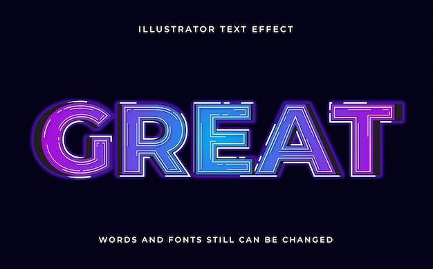 Красочный редактируемый современный текст со световым эффектом Premium векторы