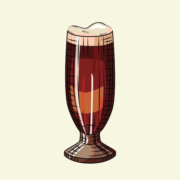 Пивной стакан с пеной, изолированные на светлом фоне. алкогольный напиток плакат. Premium векторы