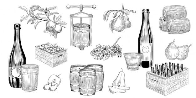 Набор из груши и яблочного сидра. урожай груш, яблок, пресс, бочка, бокал и сидр. Premium векторы