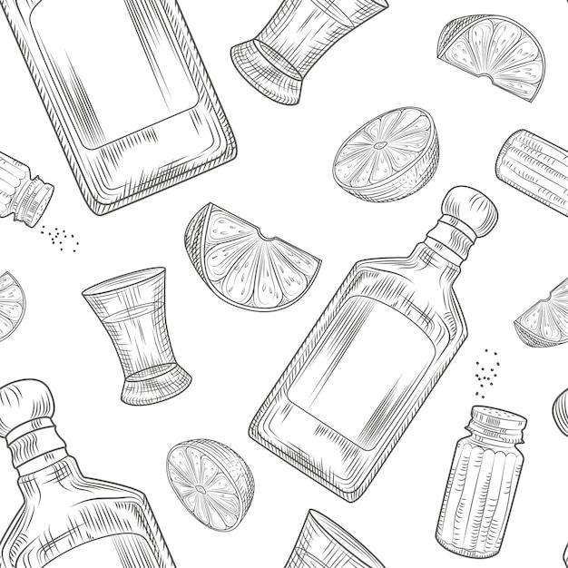 Текила бесшовные модели. рюмка и бутылка текилы, соль, лайм Premium векторы