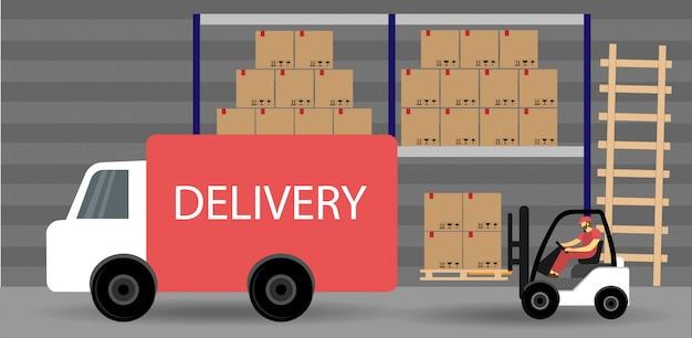 配送倉庫。物流プロセス。フォークリフトは、トラックに荷物を積み込みます。フラットスタイル。 Premiumベクター
