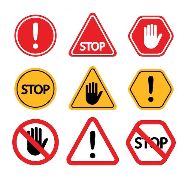 Предупреждающие знаки. не трогай, внимание, остановись. Premium векторы