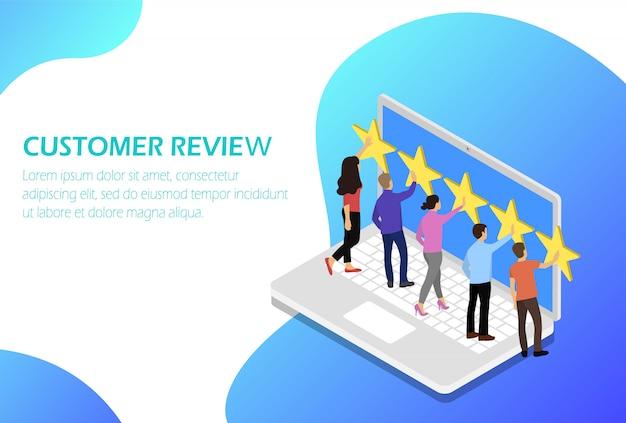 Обратная связь с клиентами. обратная связь. рейтинг звезд. Premium векторы