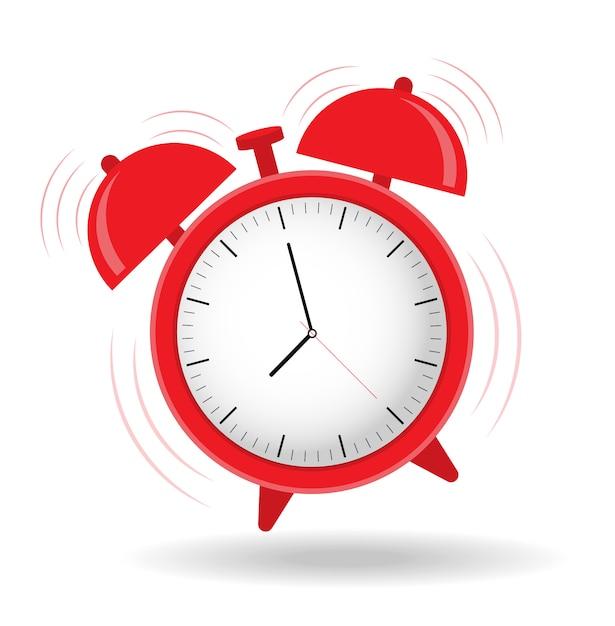 目覚まし時計が鳴っています。フラットなデザインを始める時間。 Premiumベクター