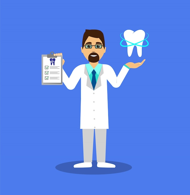 Стоматолог с росписью и с вылеченным зубом. Premium векторы