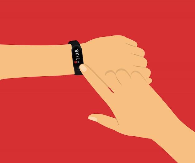 フィットネストラッカー。手持ちのスマートウォッチ。赤の手でコンセプト。 Premiumベクター