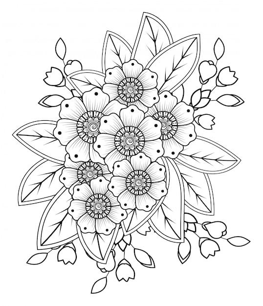 Менди цветок украшения в этническом восточном, индийском стиле. Premium векторы