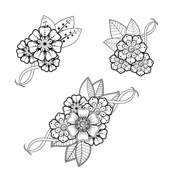 Набор менди цветочный узор для хны рисунка и татуировки. оформление в этническом восточном, индийском стиле. Premium векторы