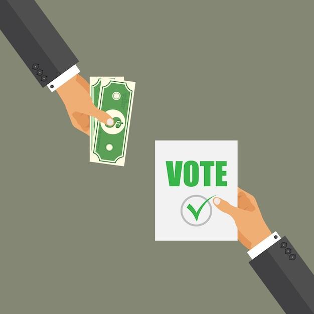 投票の概念を購入します。選挙当日の汚職。ダーティ候補。 Premiumベクター