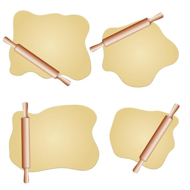 生地と麺棒の図 Premiumベクター