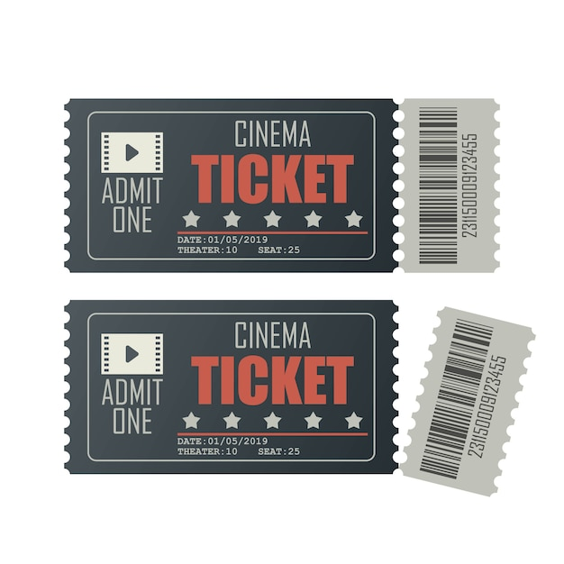 Иллюстрация билет в кино на белом Premium векторы