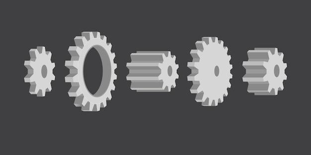 Иллюстрация системы зубчатых колес Premium векторы