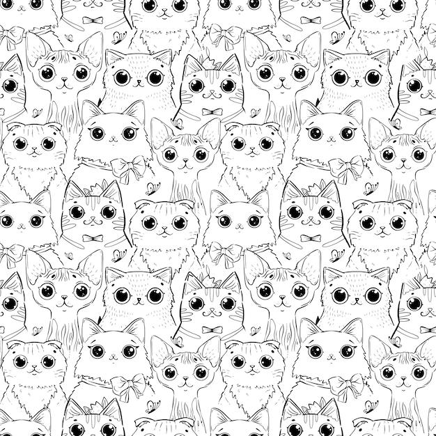 猫のさまざまな漫画の頭のパターンの着色のページ。 Premiumベクター