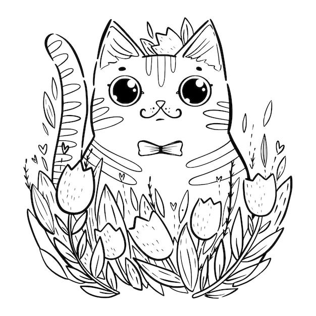 チューリップと漫画猫と着色のページ。 Premiumベクター