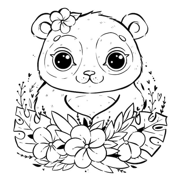 Портрет милой панды с тропическими листьями и цветами, панда с открытыми глазами и с цветком возле уха, раскраска Premium векторы