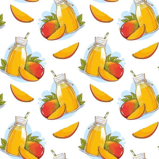 わらとマンゴーの果実とガラス瓶の中のマンゴージュースのパターン Premiumベクター
