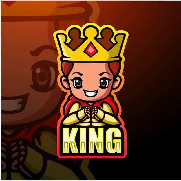 Король талисман киберспорт иллюстрация Premium векторы