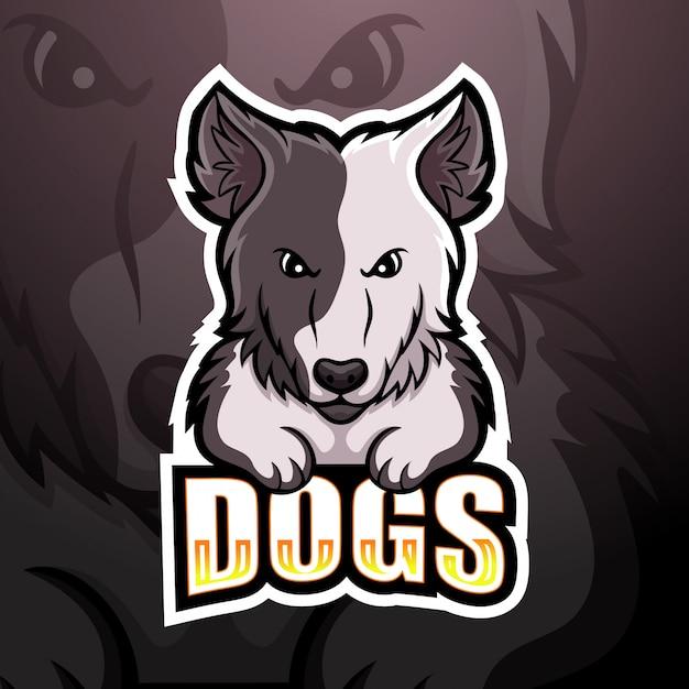 Собака талисман киберспорт иллюстрация Premium векторы