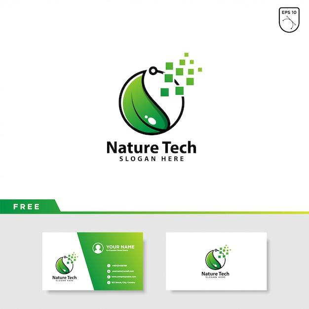 葉と技術のロゴ Premiumベクター