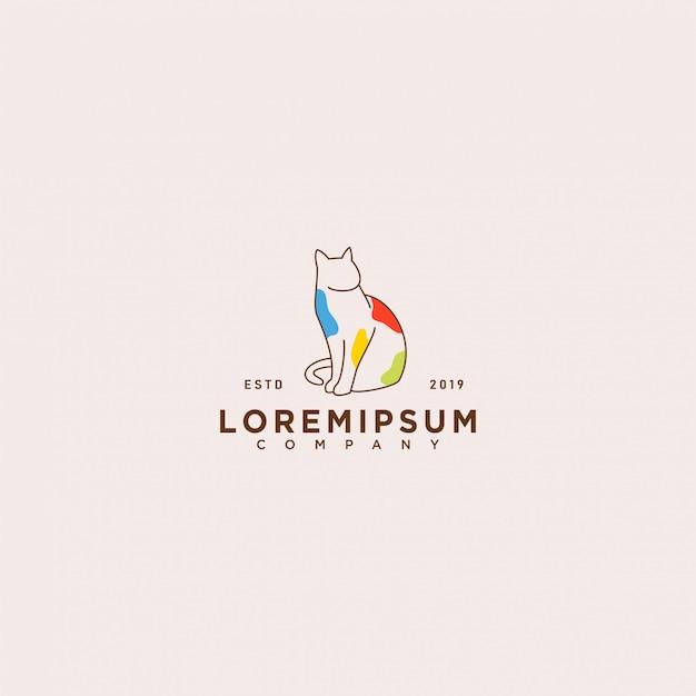猫のロゴのテンプレート Premiumベクター