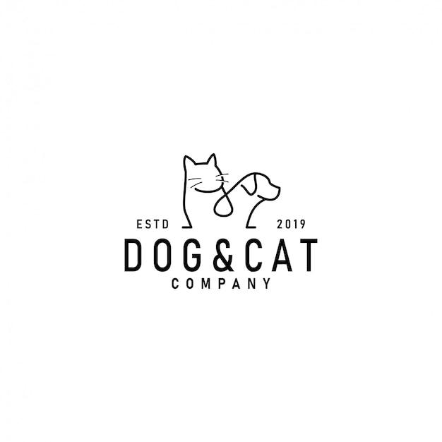 猫と犬のロゴのテンプレート Premiumベクター