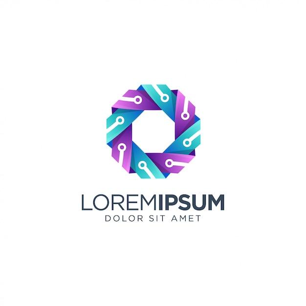 カラフルなテクノロジーのロゴデザイン Premiumベクター