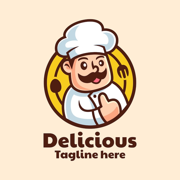 Мультипликационный персонаж шеф-повар дизайн логотипа Premium векторы