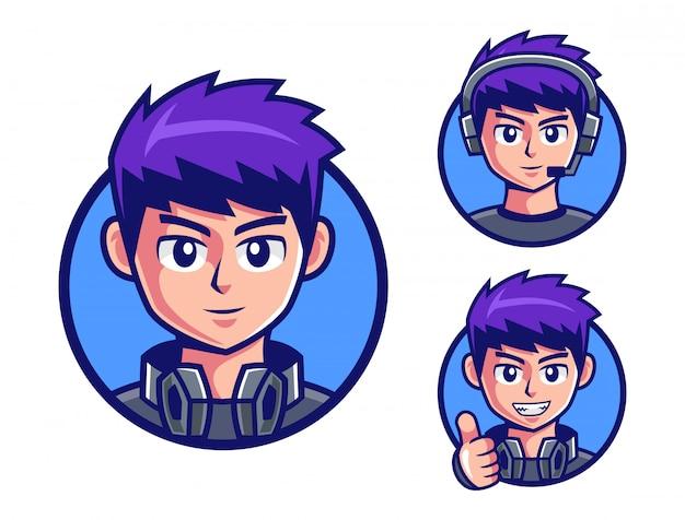 プロゲーマーの男の子のロゴデザイン Premiumベクター