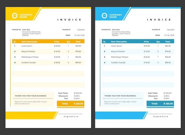 Современный минималистичный шаблон счета Premium векторы