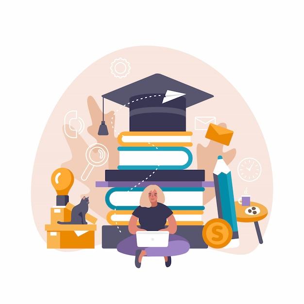 Иллюстрация концепции обучения по интернетуу женщины используя пк компьтер-книжки и таблетки для изучения и образования расстояния. Premium векторы