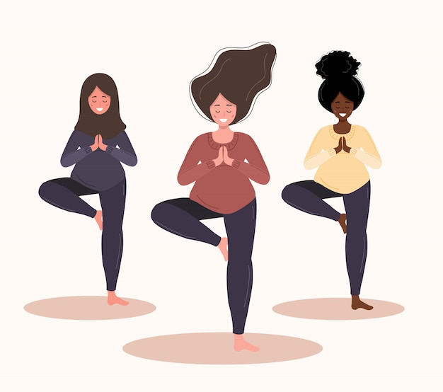 Беременные женщины в позе йоги. современная иллюстрация в стиле на белом фоне. коллекция здорового образа жизни и отдыха. концепция счастливой беременности. Premium векторы