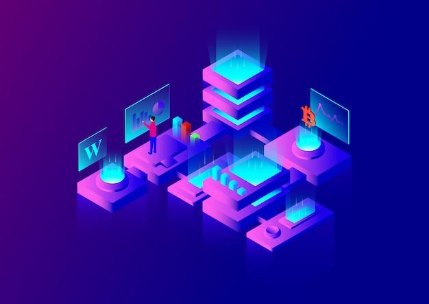 ビッグデータセンター Premiumベクター