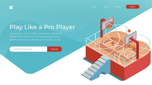 バスケットボールスポーツウェブサイトのベクトル図 Premiumベクター