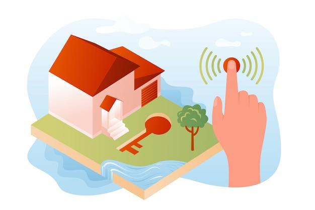 Система безопасности умного дома иллюстрации Premium векторы