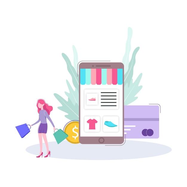 Электронная коммерция интернет магазин иллюстрации Premium векторы
