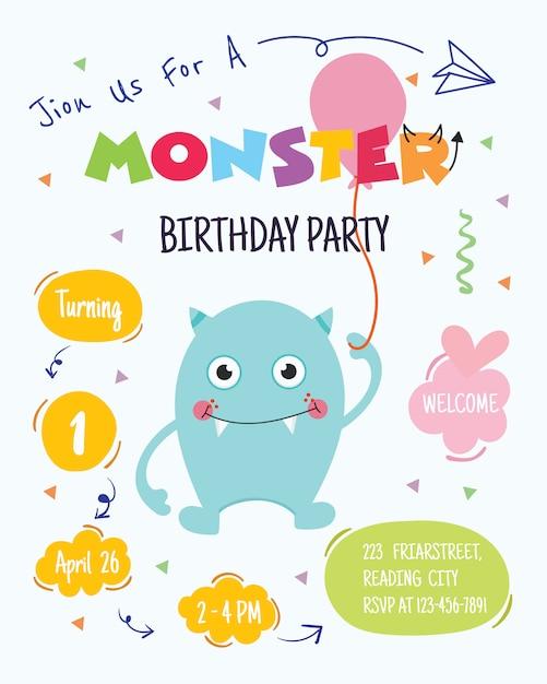 かわいいモンスターの誕生日パーティーの招待状カードのデザイン。ベクター Premiumベクター