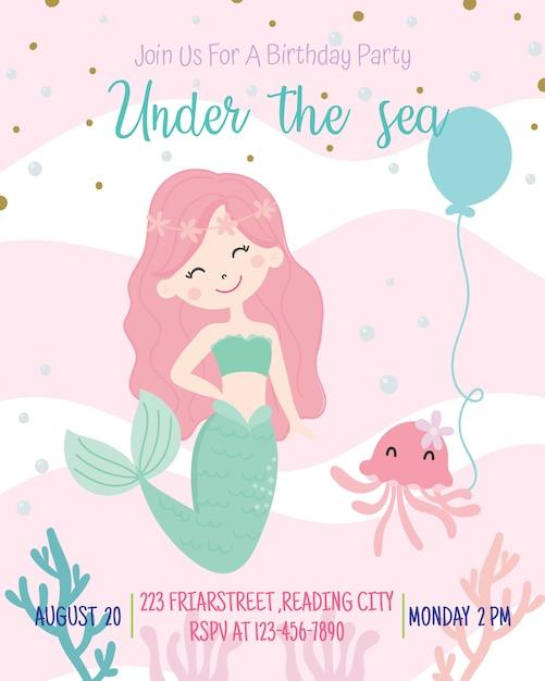 かわいい人魚テーマ誕生日パーティーの招待状カードのベクトル図です。 Premiumベクター