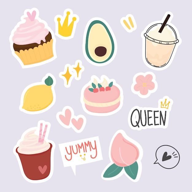 Набор милых десертных наклеек Premium векторы