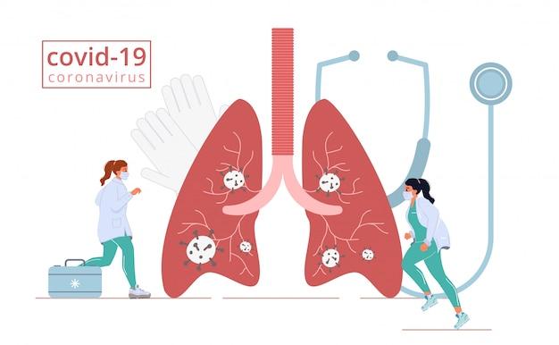 医学疾患疾患コロナウイルス肺攻撃 Premiumベクター