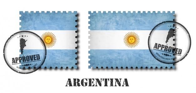 アルゼンチンまたはアルゼンチンの旗のパターンの切手 Premiumベクター