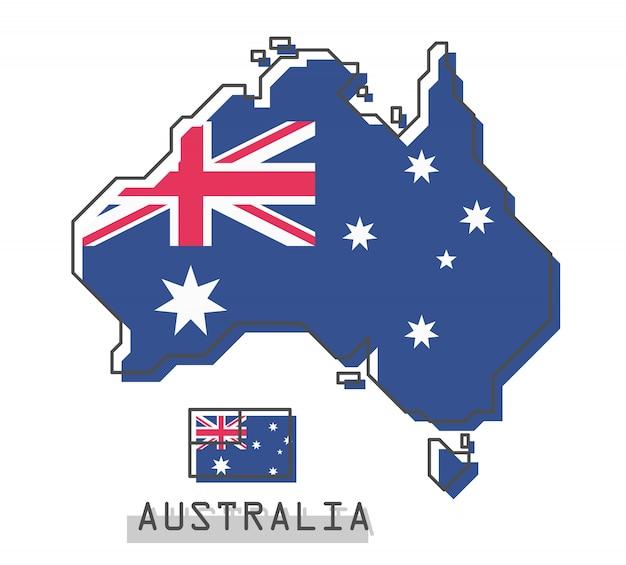 オーストラリアの地図とフラグ Premiumベクター